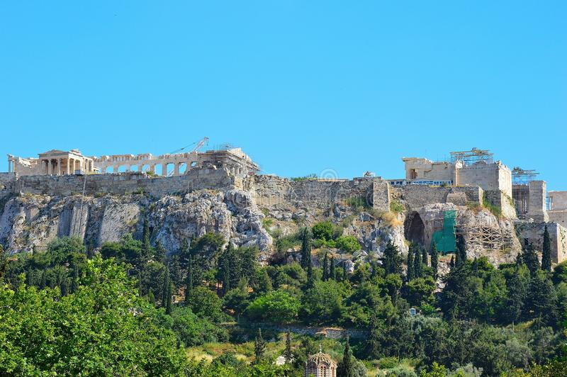 Akropolis van ver stock foto's