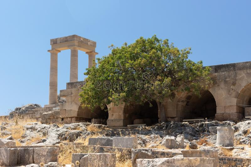 Ruins of a historic temple at the Acropolis of Lindos royalty free stock image