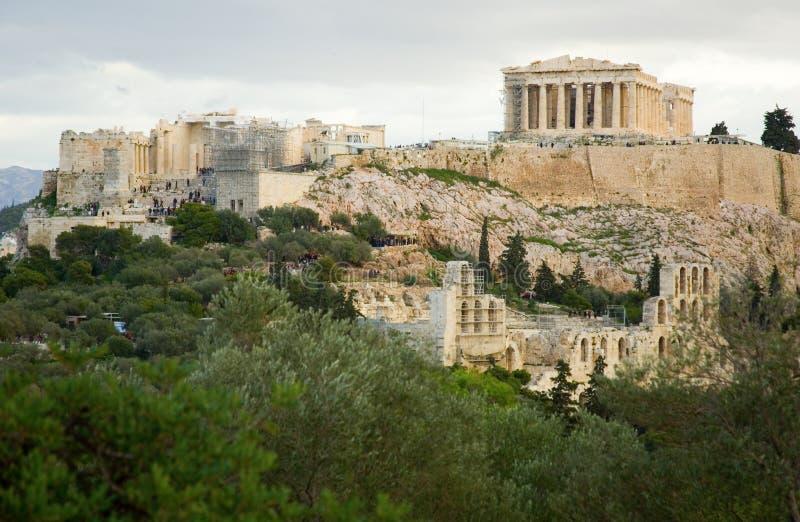 akropolisathens sikt royaltyfri bild