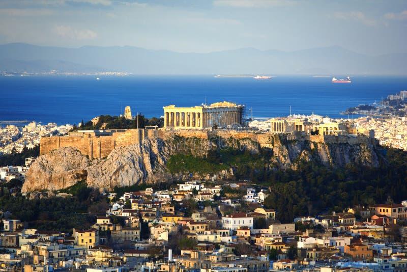 Akropolisheuvel en Plaka royalty-vrije stock foto's