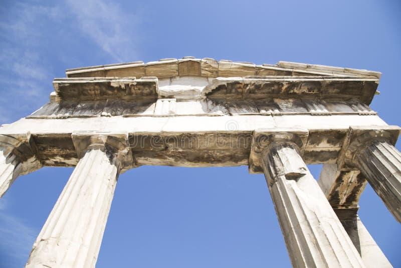 akropolu agory Athens zamkni?ta hadrian biblioteczna rzymska s strona widok fotografia stock