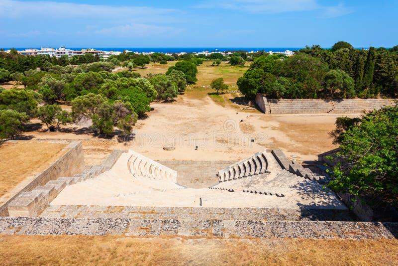 Akropolu Antyczny stadium w Rhodes zdjęcie stock