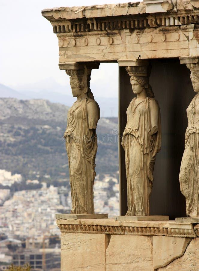 akropolu atheens kariatyd Greece ganeczek zdjęcia stock