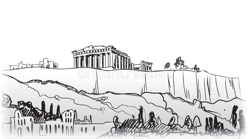 Akropolu wzgórze w Ateny. Europejski podróży miejsce przeznaczenia. royalty ilustracja