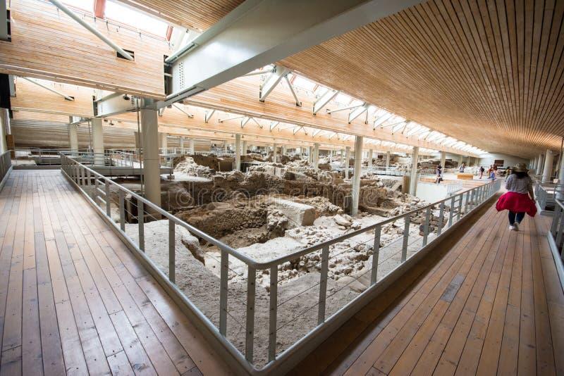 Akrotiri es un sitio arqueológico de la edad de bronce de Minoan en la isla griega de Santorini Thera fotos de archivo libres de regalías