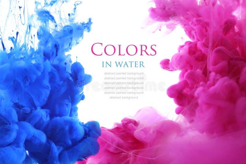 Akrylfärger i vatten abstrakt bakgrund fotografering för bildbyråer