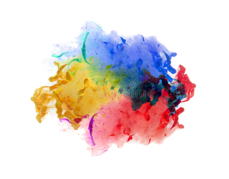 Akrylfärger och färgpulver i vatten abstrakt bakgrund royaltyfria bilder