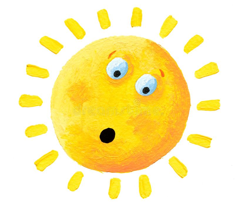 Akrylillustration av den förvånade solen vektor illustrationer