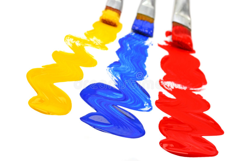 akrylmålarfärgpaintbrushes royaltyfria bilder