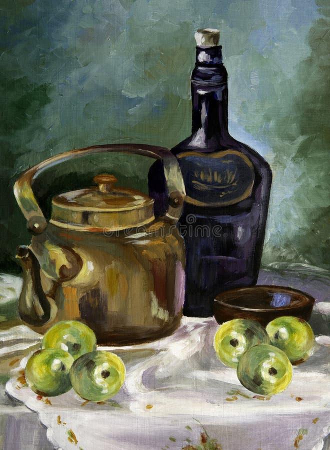 Akrylmålning av frukosttabellen stock illustrationer