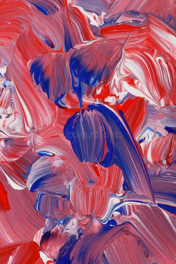 Akrylowej farby tło w czerwieni, białych i błękita brzmieniach, zdjęcie royalty free