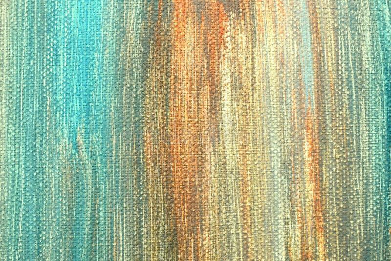 Akrylowej farby uderzenia na kanwie Przypadkowo błękit, kolor żółty, zmrok, pomarańcze fotografia royalty free