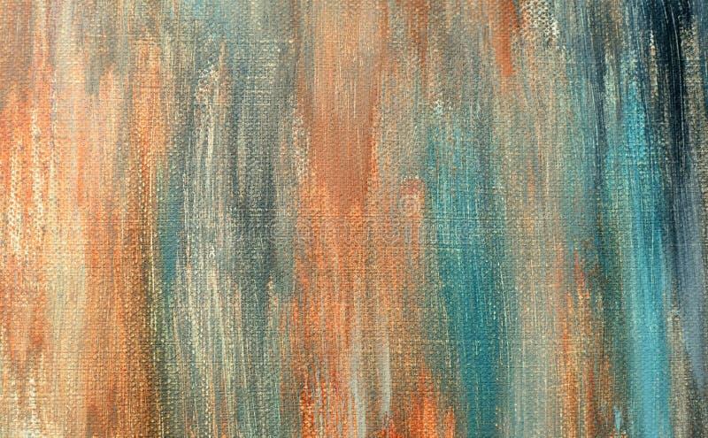 Akrylowej farby uderzenia na kanwie Przypadkowo błękit, kolor żółty, zmrok, pomarańcze obrazy stock