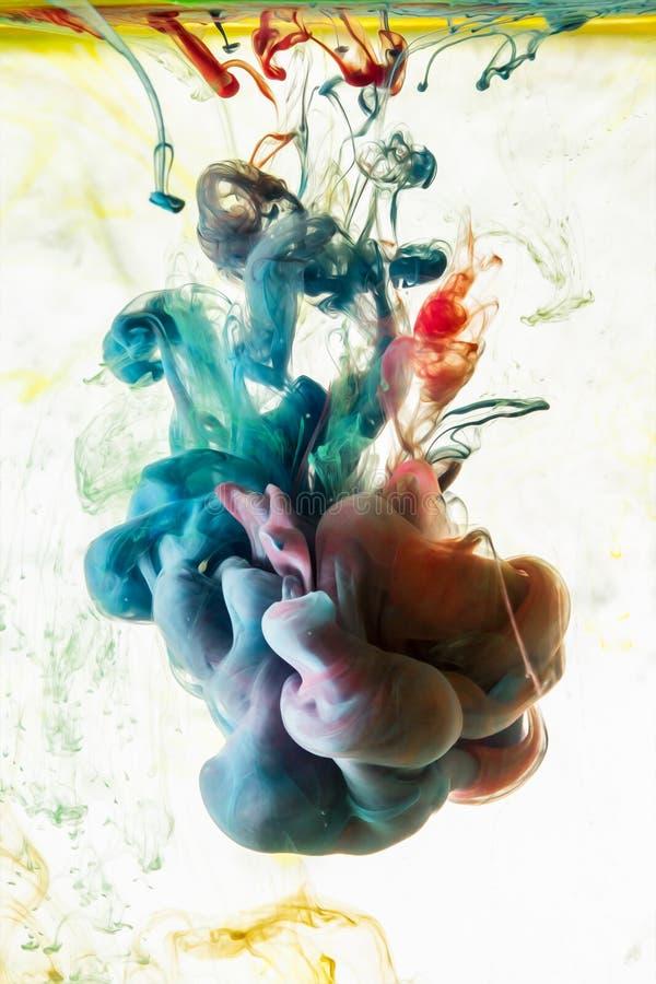 Akrylowi kolory Atramenty w wodzie fotografia stock