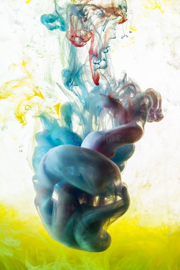 Akrylowi kolory Atramenty w wodzie zdjęcia stock
