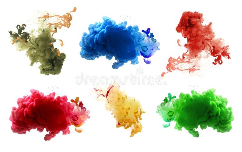 Akrylowi kolory i atrament w wodzie abstrakcyjny tło fotografia stock