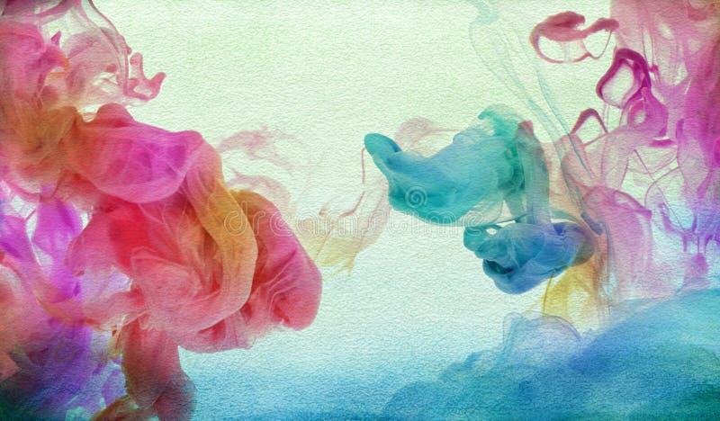 Akrylowi kolory w wodzie zdjęcie stock