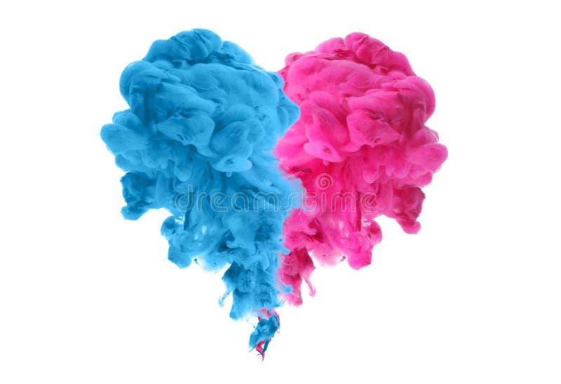 Akrylowi kolory w wodzie Atramentu kleks abstrakcyjny t?o odosobnienie poj?cia ?amany serce obrazy royalty free