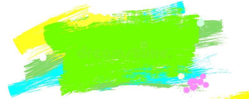 Akrylowi mu?ni?? uderzenia Projekta element z wibruj?cymi kolor?w rozmazami farba Sztandar z abstrakcjonistyczn? stubarwn? farb? royalty ilustracja