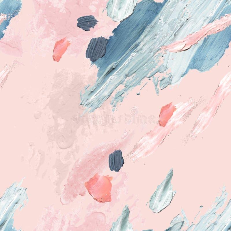 Akrylowi, nafciani i akwarela farby szorstcy rozmazy, kleksy, tekstura bezszwowy wzór royalty ilustracja