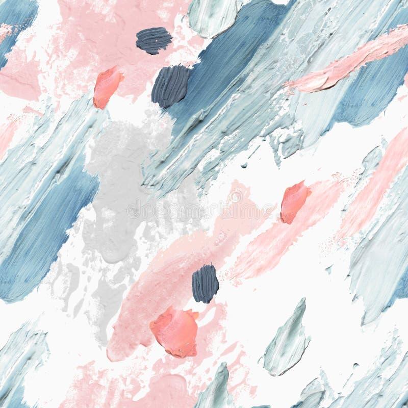 Akrylowi, nafciani i akwarela farby szorstcy rozmazy, kleksy, tekstura bezszwowy wz?r ilustracji