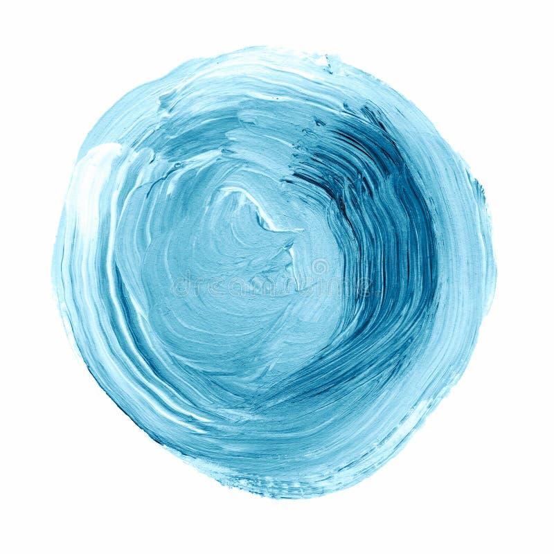 Akrylowy okrąg odizolowywający na białym tle Błękit, mennicy akwareli round kształt dla teksta Element dla różnego projekta obraz stock