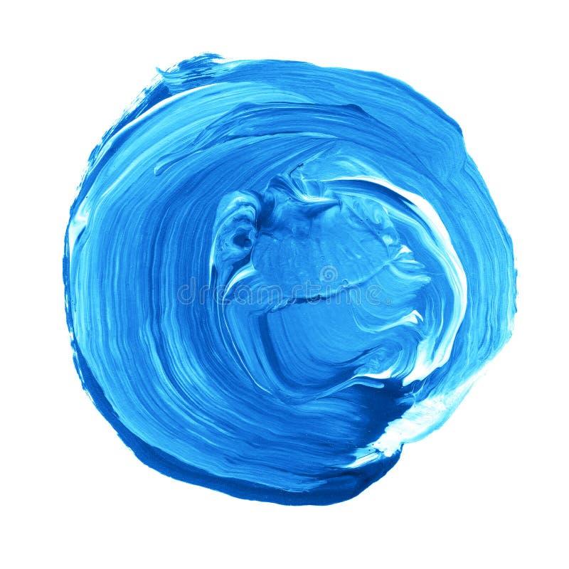 Akrylowy okrąg odizolowywający na białym tle Jaskrawy błękitny round akwarela kształt dla teksta Element dla różnego projekta obraz royalty free