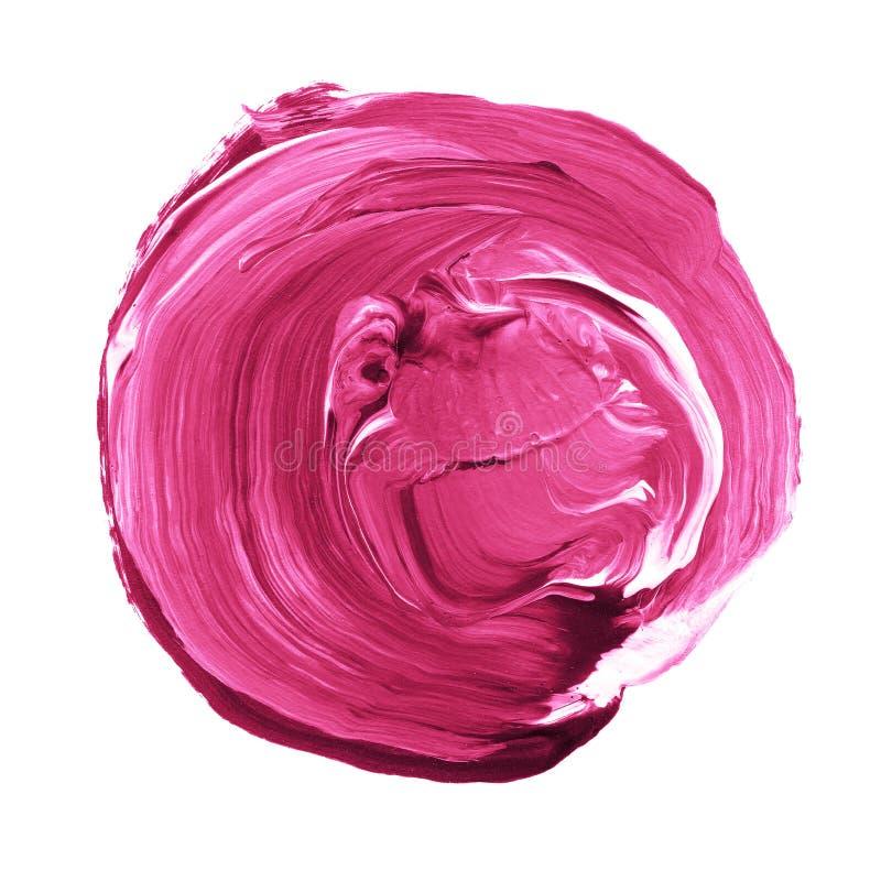 Akrylowy okrąg odizolowywający na białym tle Menchie, światło - purpurowy round akwarela kształt dla teksta Element dla różnego p fotografia royalty free