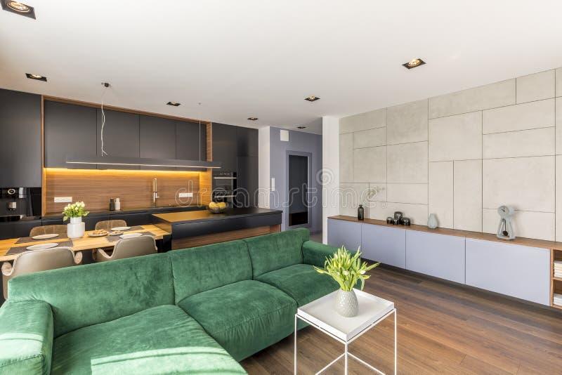aksamitna leżanka umieszczająca w otwartej przestrzeni kuchni i pokoju żywym wnętrzu z świeżymi kwiatami, łomotający stół i lampy zdjęcie royalty free