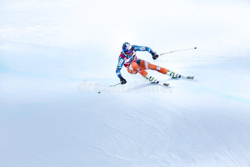Aksel隆德Svindal优胜者Fis世界杯博尔米奥2013年 免版税库存图片