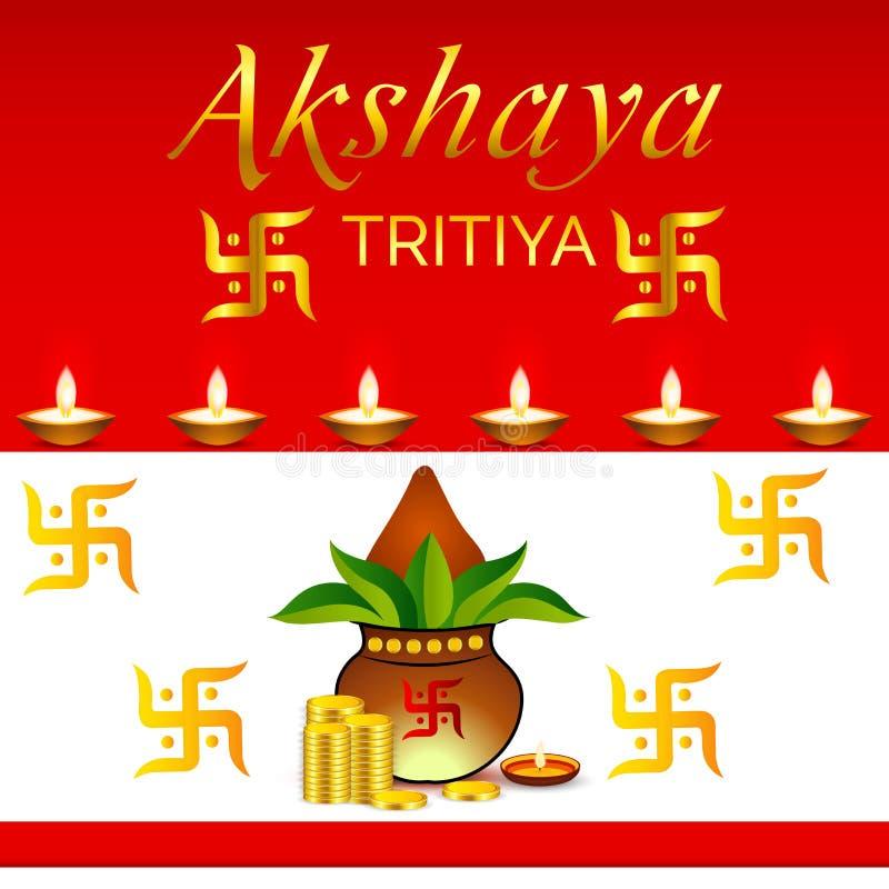 Akshaya Tritiya. Vector llustration of mangal kalash for Akshaya Tritiya celebration vector illustration