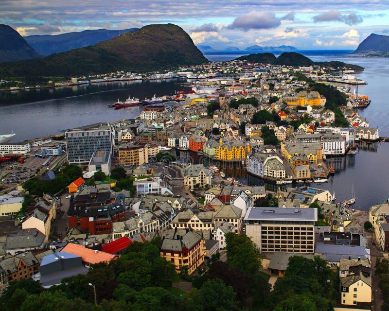从Aksla小山的Alesund 挪威 免版税库存图片