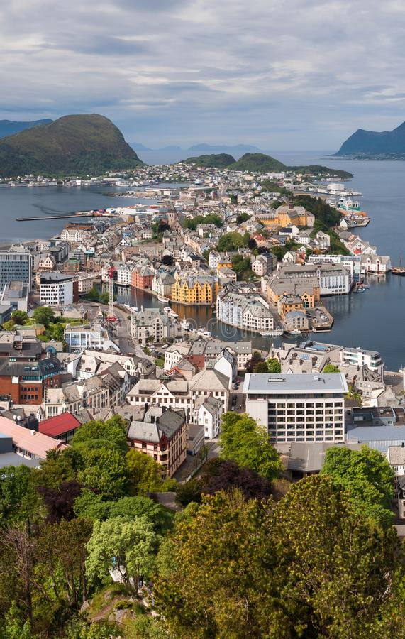 Aksla at the city of Alesund , Norway. Aerial stock photo