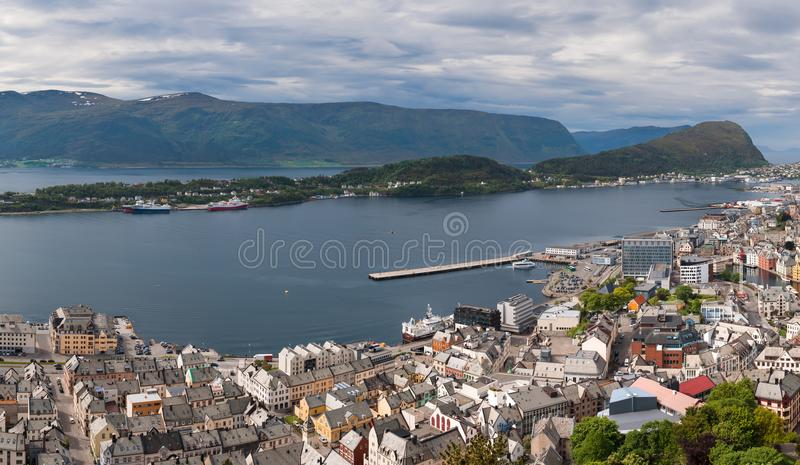 Aksla at the city of Alesund , Norway. Aerial royalty free stock images