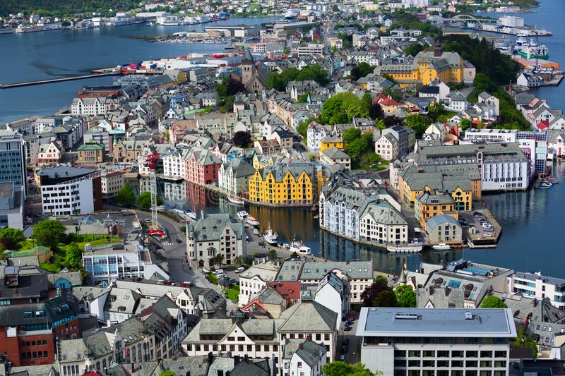 Aksla at the city of Alesund , Norway. Aerial royalty free stock photos