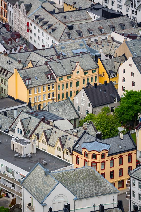 Aksla at the city of Alesund , Norway. Aerial royalty free stock image