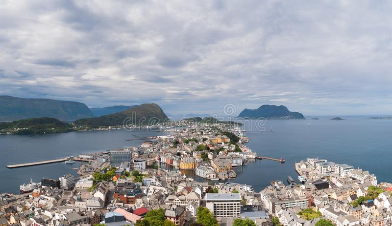 Aksla at the city of Alesund , Norway. Arial stock photos