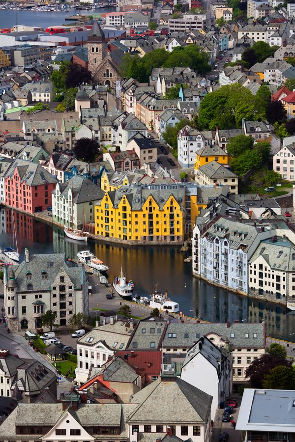 Aksla at the city of Alesund , Norway. Arial royalty free stock photos
