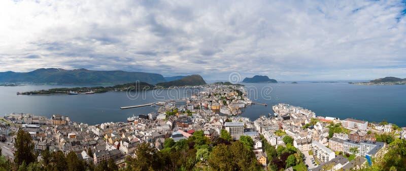 Aksla at the city of Alesund , Norway panorama. Island stock image