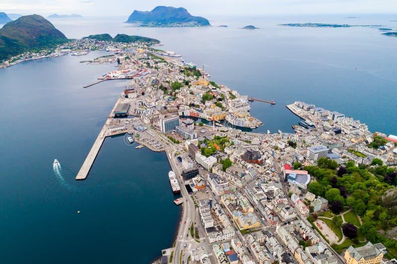 Aksla at the city of Alesund tilt shift lens, Norway. Aksla at the city of Alesund , Norway stock images