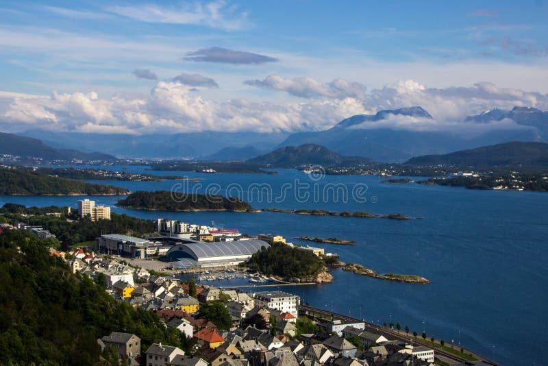 Aksla viewpoint in Alesund city in Norway. Aksla viewpoint in Alesund South Norway stock images