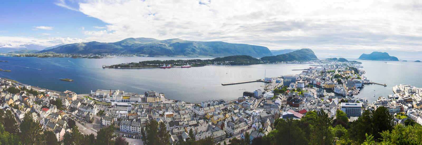 Aksla viewpoint in Alesund city in Norway. Aksla viewpoint in Alesund South Norway royalty free stock photos