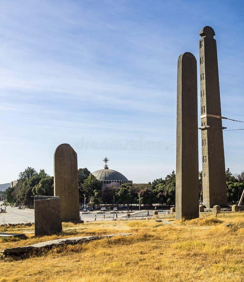 Aksum北Stelae公园,著名方尖碑在阿克苏姆,埃塞俄比亚 图库摄影