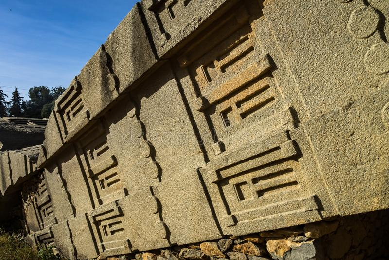 Aksum北Stelae公园,著名方尖碑在阿克苏姆,埃塞俄比亚 免版税图库摄影