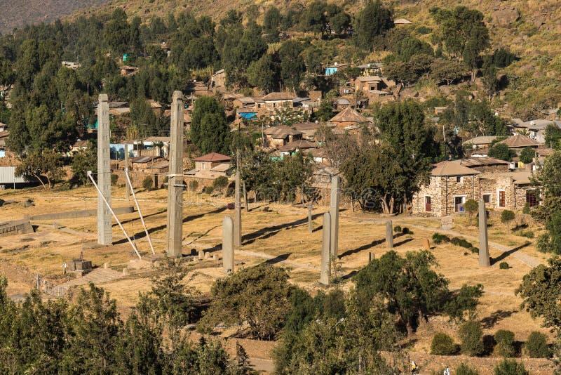 Aksum北Stelae公园,著名方尖碑在阿克苏姆,埃塞俄比亚 库存图片