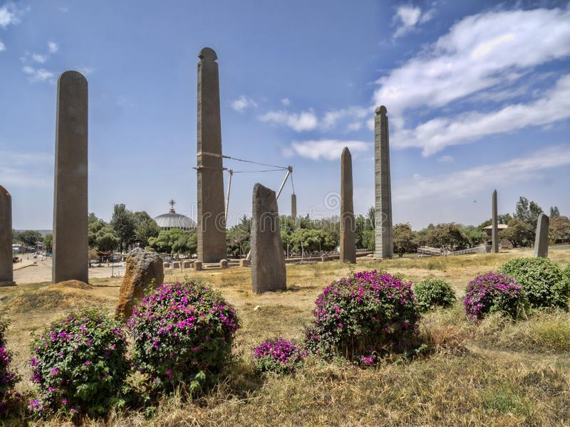 Aksumian obelisks are a true mystery to Ethiopia; the Colossi are carved from one piece of stone stock photo