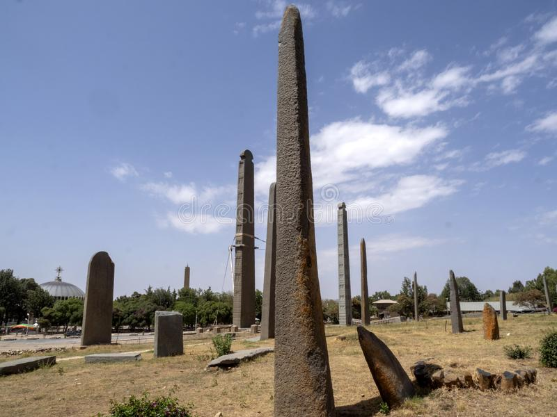 Aksumian obelisks are a true mystery to Ethiopia; the Colossi are carved from one piece of stone stock photography