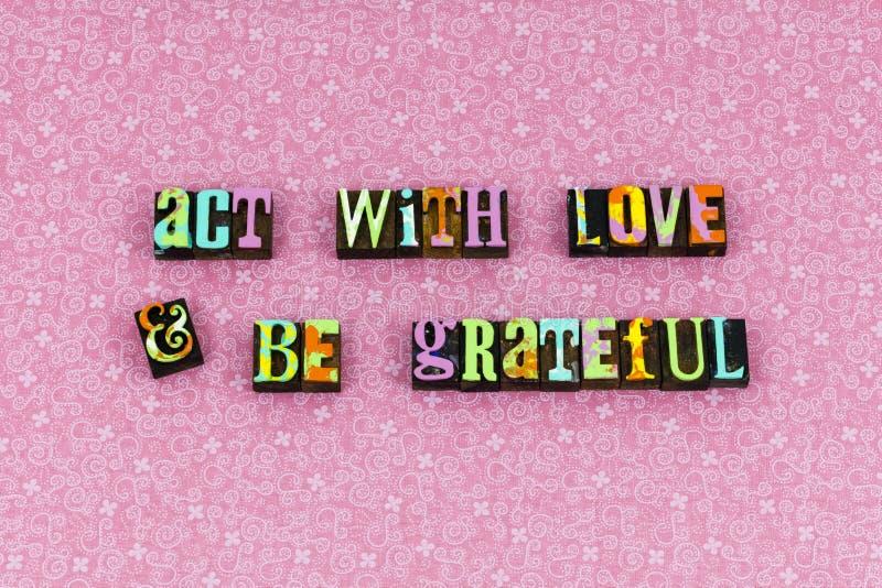 Akt miłości wiary dobroci wdzięczny letterpress obraz stock