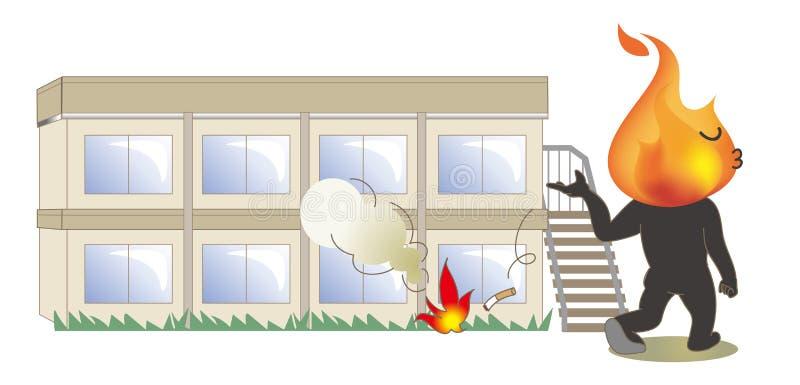 Akta sig av brand - cigaretten som framme skräpar ner av byggnaden  vektor illustrationer