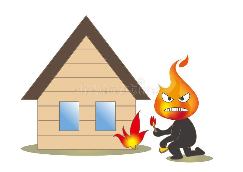 Akta sig av brand - mordbrännaren och hus royaltyfri illustrationer